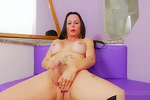 Big boobs masturbates cock...