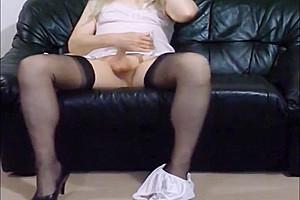 Shy pink slip and black ff nylons plus...
