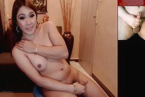 Tranny webcam model laughs at my tiny dick...