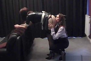 Mistress gives sexy maid a good ass spanking...