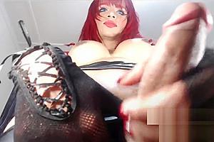 Flirt4 model angelica e filthy redheaded tranny plays...