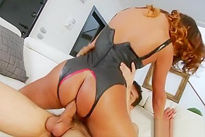 Booby latex outfit anal banged...