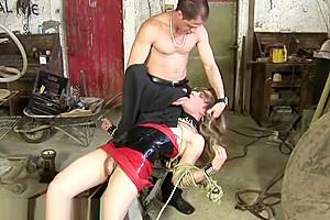 Small dress in bondage until cumshot...