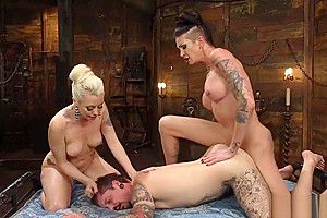 Her gf dominating inked dude...