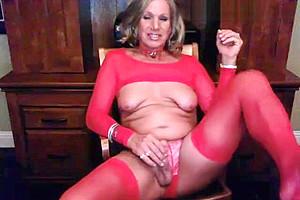 Masturbating red lingerie...