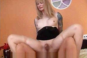 Tattooed tranny rides after 69 pose sucking...