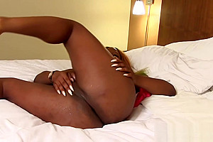 Ebony to wanking her...