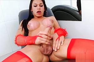 Tranny masturbates dick...
