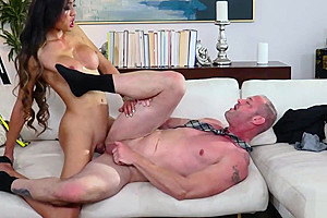 Big boobed asian an ugly old perv dude...
