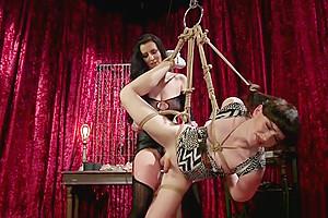 Dominatrix anal fucks bondage...