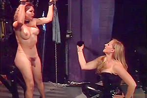 Woman dominates a tranny...