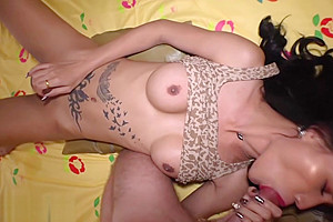 Inked hooker fucked cocked client...