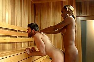 Busty in sauna...