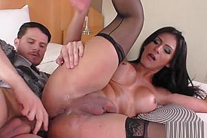 Seductive bigtits tranny anally riding dick...