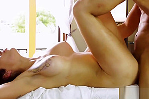 Busty shemale massaging cock with her tight cornhole...