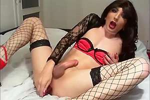 Sexy lingerie chinese ladyboy toying ass and stroking...