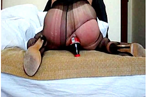 Ripped stretches butt with a bottle...