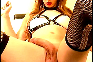 Stroking her cock...